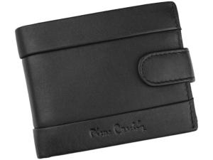 Pierre Cardin Tilak 25 323A nero męski skórzany czarny mały portfel