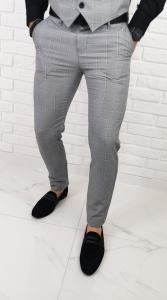 Szare eleganckie spodnie wizytowe slim fit w czarno-biala krate 04
