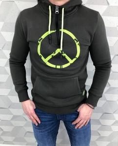 Męska bluza z kapturem khaki neon
