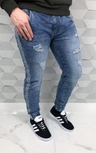 Jasne meskie spodnie joggery z dziurami i lampasem wa918055