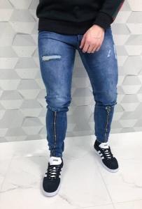 Niebieskie spodnie jeansowe joggery z zamkami i przetarciami 2056denim