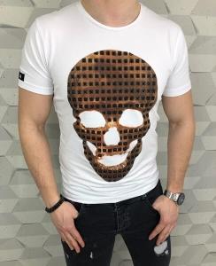 Bialy meski t-shirt z aplikacja czaszki