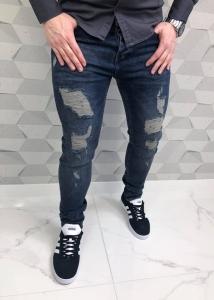 Modne męskie spodnie jeansowe denim z przetarciami 4645