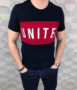 Granatowa meska koszulka Tommy  life z napisami United