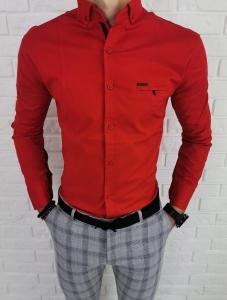 Czerwona meska koszula z kolnierzem ozdobna kieszonka 0149/4