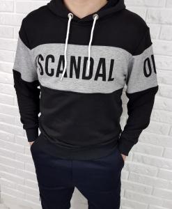 Czarna bluza męska z kapturem i nadrukiem Scandal
