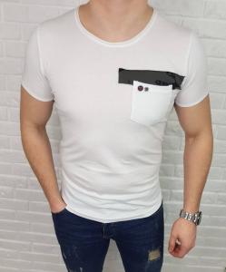 Biala meska koszulka ze wstawka moro Retro Club