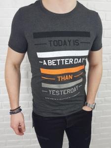 Szary meski T-shirt Tommy Life Betterday