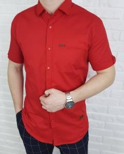 Czerwona meska koszula na napy krotki rekaw