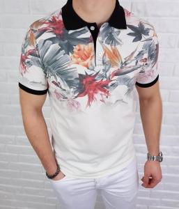 Kremowa koszulka meska polo w kolorowe kwiaty