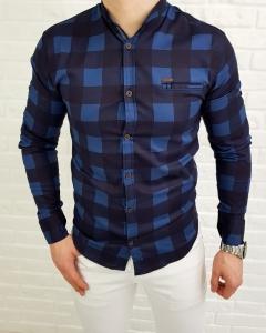 Niebieska męska koszula w kratę