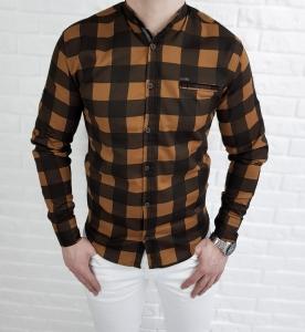 Musztardowa meska koszula w krate ze stojka
