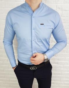 Niebieska koszula ze stojka ozdobna kieszonka 0274