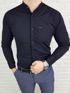 Granatowa koszula ze stojka ozdobna kieszonka 0274