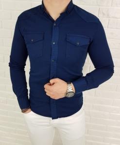 Jeansowa meska koszula indygo z kolnierzem