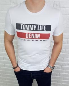 Bialy meski T-shirt z napisami Tommy life denim