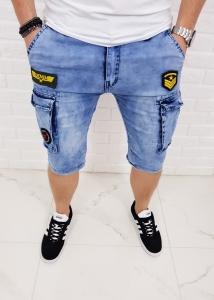 Jeansowe meskie spodenki z naszywkami KS22-237