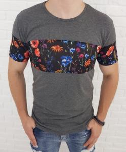 Szara koszulka meska w kolorowe kwiaty 19-Y3851