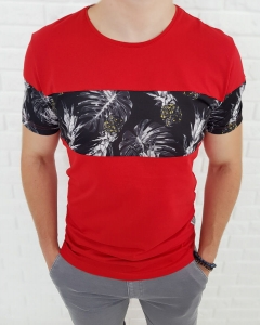 Czerwona meska koszulka z modna wstawka 19-Y3846