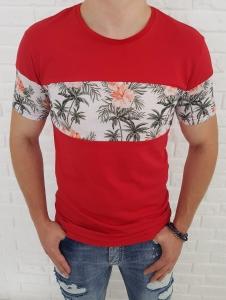 Czerwona meska koszulka z biala wstawka 19-Y3908