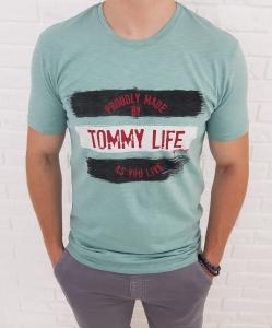 Mietowa koszulka meska Tommy life z nadrukiem