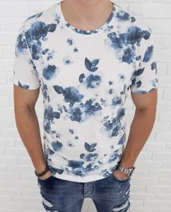 Biala koszulka w granatowe liscie Lenasso 19-Y4717R