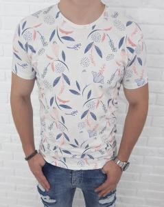 Biala koszulka w granatowo morelowe liscie Y4804