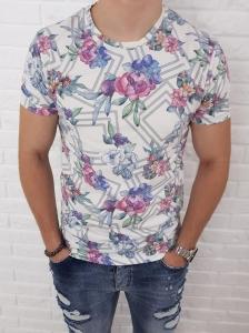 Biala koszulka z kwiatowymi wzorami Y4810