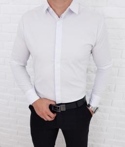 Biala koszula z zakrytymi guzikami  kolnierz 0093/1/B