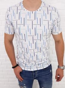 Biala koszulka w kolorowe kreski Lenasso Premium 19-Y4770