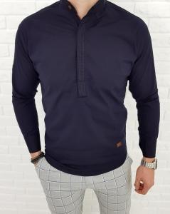 Granatowa męska koszula ze stójką z zakrytymi guzikami