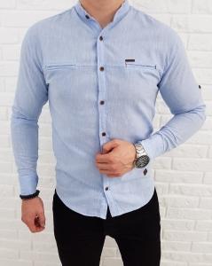 Jasnoniebieska bawelniana koszula ze stojka kieszonki 0282/76B.M