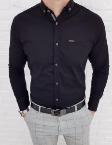 Czarna koszula z kolnierzem kwadratowe guziki 0032/2