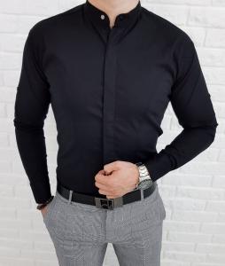 Czarna meska koszula ze stojka z kryta plisa 0126/2