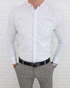Biala meska koszula ze stojka z kryta plisa 0126/1