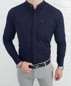 Granatowa koszula ze stojka kryta plisa 0325/3