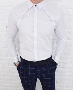 Biala koszula z kolnierzem zakladki 0326/1/B