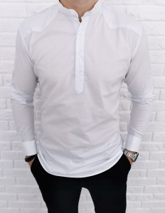 Biala gladka koszula ze stojka i wstawkami imaginazzi 1234
