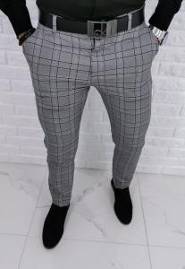 Szare eleganckie spodnie w czarno czerwona krate 1235