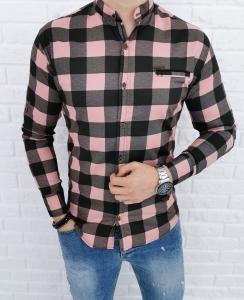 Rozowa meska koszula w krate 0168/31