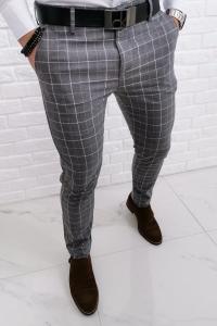 Szare eleganckie spodnie w biala krate 1261
