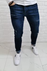 Spodnie jeansowe męskie z przetarciami i kółeczkami ctrl102