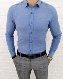 Niebieska meska koszula z kolnierzem imaginazzi