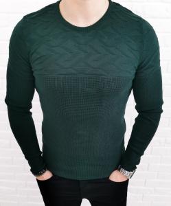 Zielony elegancki meski sweter w modne wzory