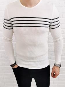 Bialy sweter w czarno szare paski 2268