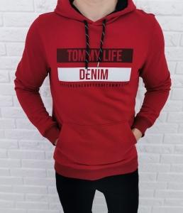 Bordowa bluza Tommy life denim z kapturem 87651