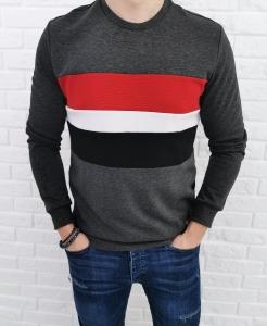Ciemnoszara bluza Tommy Life z kolorowymi wstawkami