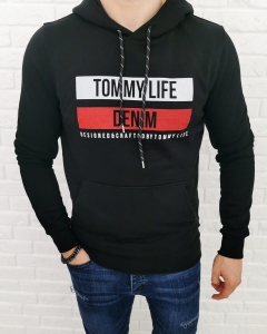 Czarna bluza Tommy life denim z kapturem 87651