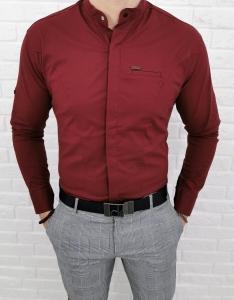 Bordowa koszula ze stojka kryta plisa 0325/56