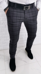Ciemnoszare eleganckie spodnie w krate Dividers Monaco-3